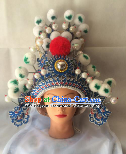 Asian Chinese Traditional Beijing Opera Takefu Headwear Ancient General Helmet Hat for Men