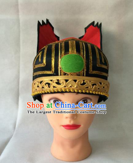 Asian Chinese Traditional Beijing Opera Old Men Headwear Ancient Senior Grand Tutor Hat for Men