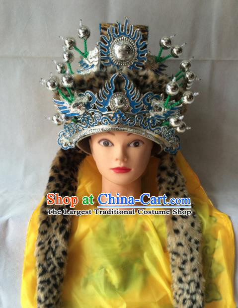 Asian Chinese Traditional Beijing Opera Helmet Headwear Ancient Prince Hat for Men