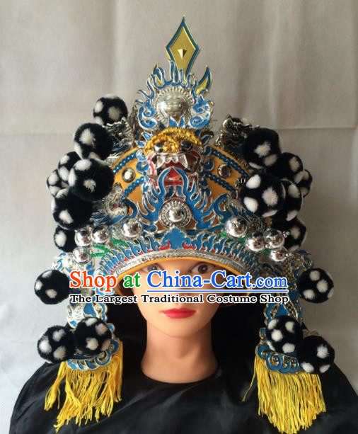 Asian Chinese Traditional Beijing Opera Black Helmet Headwear Ancient General Hat for Men