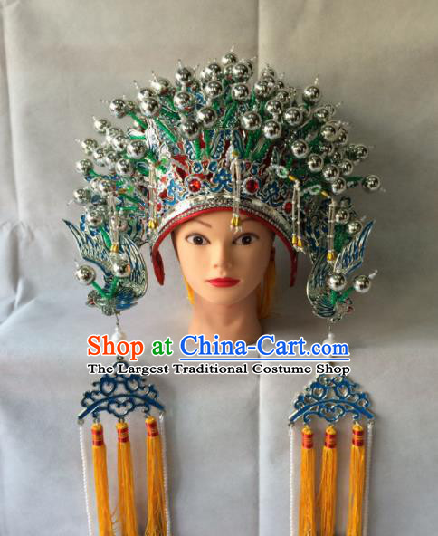 Asian Chinese Beijing Opera Hair Accessories Ancient Imperial Concubine Green Phoenix Coronet Hat for Women