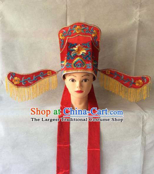 Asian Chinese Traditional Beijing Opera Headwear Ancient Scholar Red Hat for Men