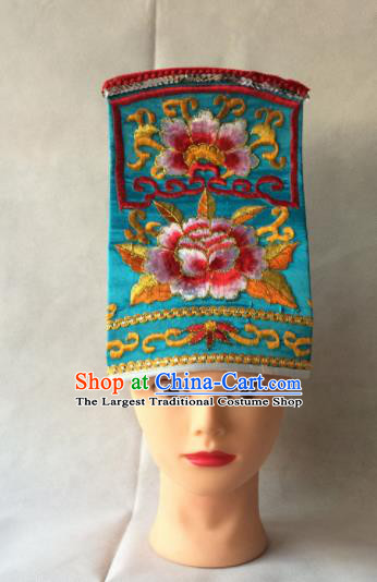 Asian Chinese Traditional Beijing Opera Headwear Ancient Taoist Priest Blue Hat for Men