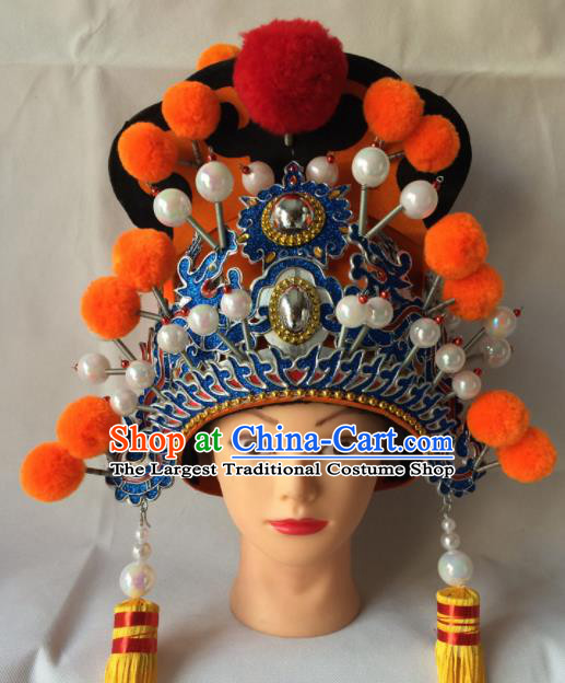 Asian Chinese Traditional Beijing Opera Takefu Headwear Ancient Royal Highness Helmet Hat for Men