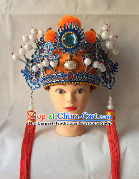 Asian Chinese Traditional Beijing Opera Takefu Headwear Ancient Court Eunch Helmet Hat for Men