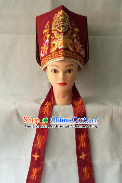 Asian Chinese Traditional Beijing Opera Old Men Headwear Ancient Landlord Red Hat for Men