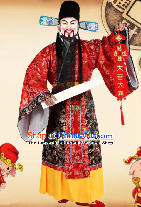 Traditional Chinese Beijing Opera God of Wealth Costume Peking Opera Clothing and Hat