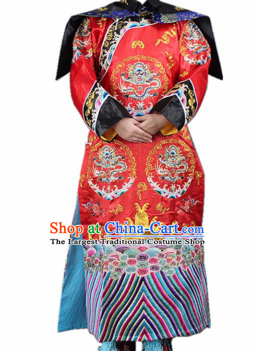 Traditional Chinese Beijing Opera Actress Costume Ancient Qing Dynasty Queen Red Dress for Women