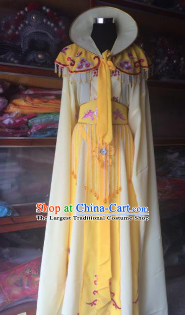Traditional Chinese Beijing Opera Princess Costume Ancient Peri Yellow Dress for Women