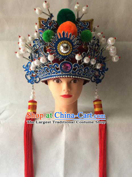 Asian Chinese Traditional Beijing Opera Headwear Ancient General Red Hat for Men
