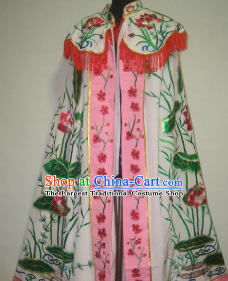 Traditional Chinese Beijing Opera Costume Ancient Imperial Concubine Embroidered Lotus Cloak for Women