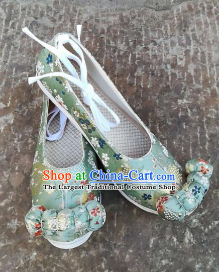 Asian Chinese Traditional Shoes Ancient Song Dynasty Princess Green Shoes Hanfu Shoes for Women