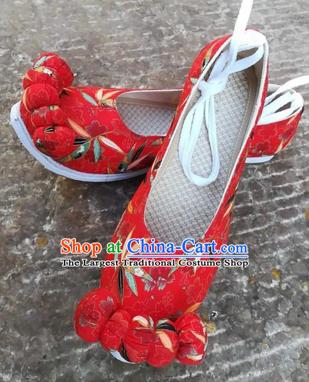 Asian Chinese Traditional Shoes Ancient Song Dynasty Printing Bamboo Red Shoes Hanfu Shoes for Women
