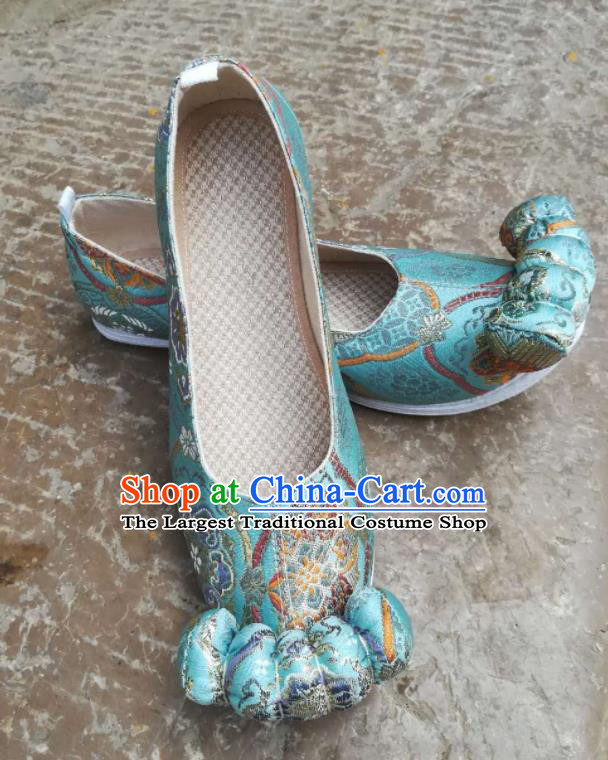 Asian Chinese Traditional Shoes Ancient Song Dynasty Wedding Blue Shoes Hanfu Shoes for Women