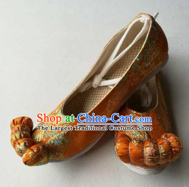 Asian Chinese Traditional Shoes Ancient Song Dynasty Golden Shoes Hanfu Shoes for Women