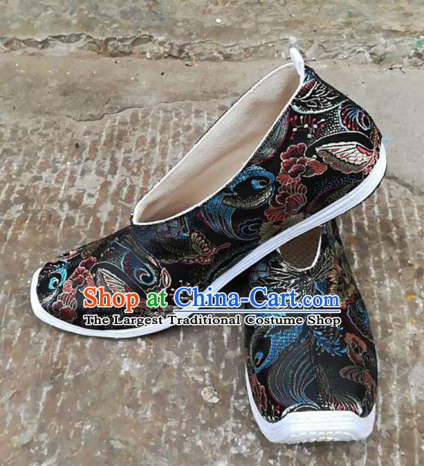 Asian Chinese Traditional Hanfu Shoes Ancient Song Dynasty Black Brocade Shoes for Men