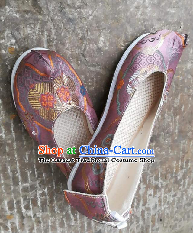 Asian Chinese Traditional Shoes Ancient Song Dynasty Lilac Brocade Shoes Hanfu Shoes for Women