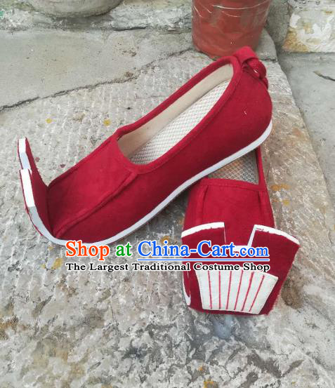 Asian Chinese Traditional Hanfu Shoes Ancient Han Dynasty Bridegroom Red Shoes for Men