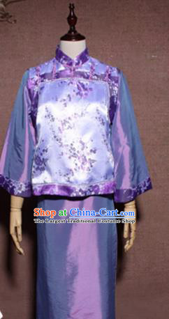 Traditional Chinese Ancient Drama Qing Dynasty Prince Purple Clothing for Men