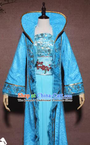 Traditional Chinese Ancient Drama Tang Dynasty Princess Costume Blue Hanfu Dress for Women
