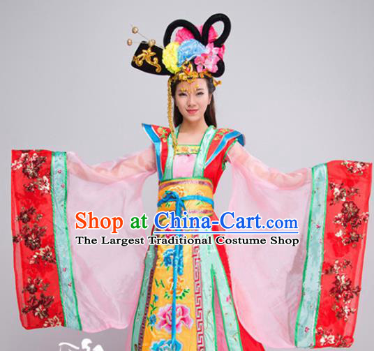 Traditional Chinese Ancient Drama Tang Dynasty Princess Costume Peri Hanfu Dress for Women
