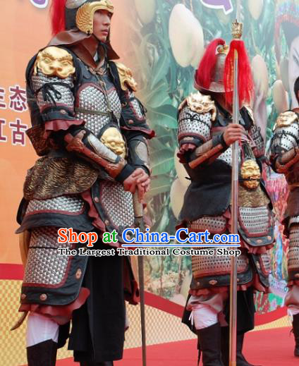 Chinese Ancient Drama Han Dynasty General Body Armor and Helmet Complete Set
