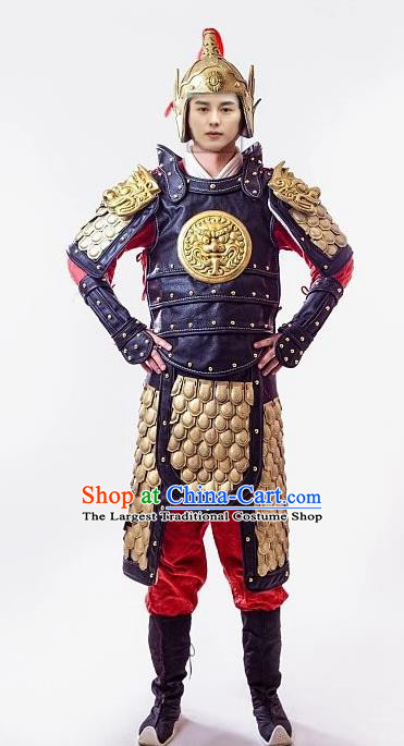 Chinese Tang Dynasty Warrior Costume Ancient Drama Soldier Body Armor and Helmet Complete Set