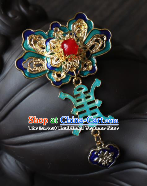 Chinese Ancient Qing Dynasty Palace Jewelry Accessories Traditional Classical Blueing Brooch for Women