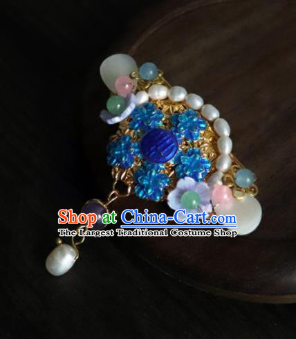 Chinese Ancient Palace Jewelry Accessories Traditional Classical Blueing Pearls Brooch for Women