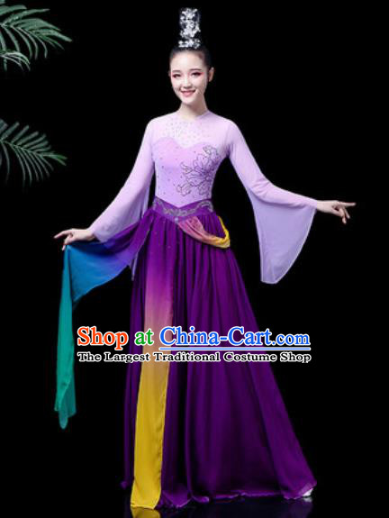 Traditional Chinese Classical Dance Costume Umbrella Dance Stage Performance Purple Dress for Women