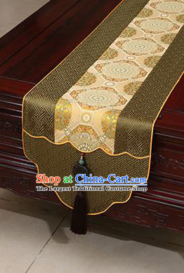 Chinese Traditional Pattern Olive Green Brocade Table Flag Classical Satin Household Ornament Table Cover