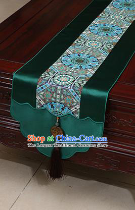 Chinese Traditional Pattern Deep Green Brocade Table Flag Classical Satin Household Ornament Table Cover