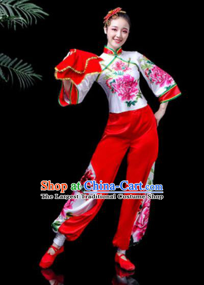 Traditional Chinese Stage Performance Costume Folk Dance Fan Dance Printing Peony Clothing for Women