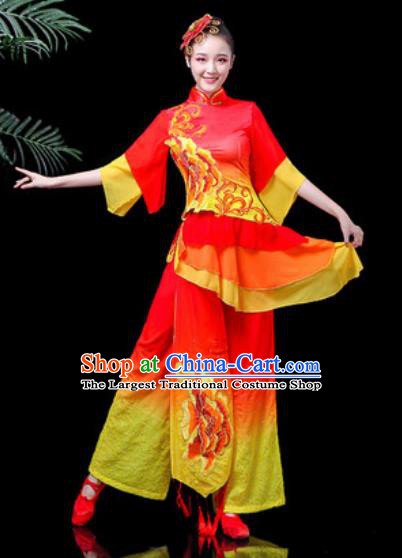 Traditional Chinese Stage Performance Costume Folk Dance Fan Dance Printing Peony Red Clothing for Women
