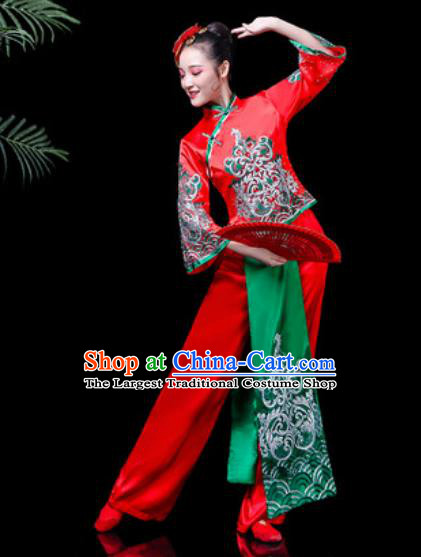 Traditional Chinese Stage Performance Costume Folk Dance Yangko Dance Red Clothing for Women