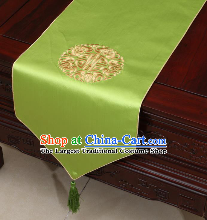 Chinese Classical Embroidered Green Brocade Table Flag Traditional Satin Household Ornament Table Cover