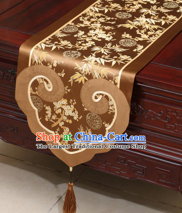 Chinese Classical Plum Blossom Bamboo Pattern Brown Satin Table Flag Traditional Brocade Household Ornament Table Cover