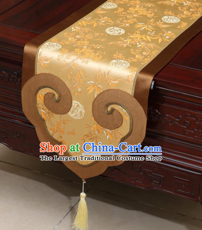 Chinese Classical Plum Blossom Bamboo Pattern Satin Table Flag Traditional Brocade Household Ornament Table Cover