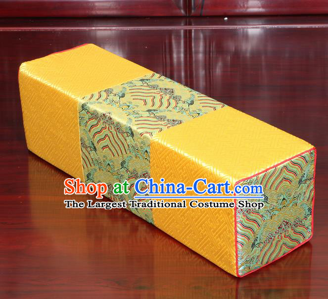 Chinese Traditional Household Accessories Classical Pattern Golden Brocade Pillow Armrest Pillow