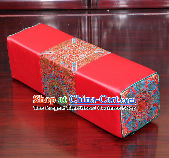 Chinese Traditional Household Accessories Classical Pattern Red Brocade Pillow Armrest Pillow