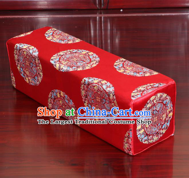 Chinese Traditional Household Accessories Armrest Pillow Classical Dragons Pattern Red Brocade Pillow