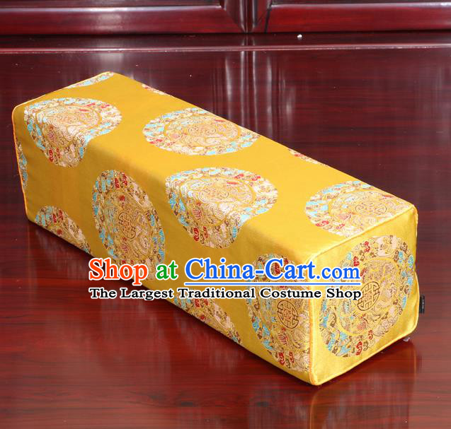 Chinese Traditional Household Accessories Armrest Pillow Classical Dragons Pattern Yellow Brocade Pillow