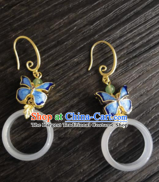 Chinese Ancient Palace Jewelry Accessories Traditional Classical Hanfu Blueing Butterfly Jade Earrings for Women