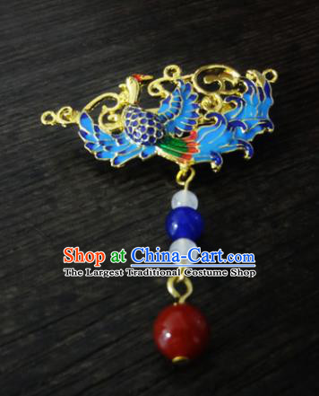 Chinese Ancient Palace Jewelry Accessories Traditional Classical Blueing Tassel Brooch for Women