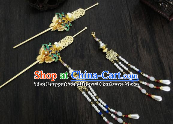 Chinese Ancient Palace Pearls Tassel Step Shake Hair Accessories Traditional Classical Blueing Hairpins for Women