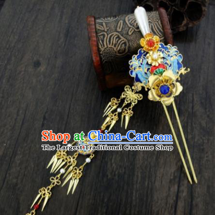 Chinese Ancient Palace Tassel Step Shake Hair Accessories Traditional Classical Blueing Hairpins for Women