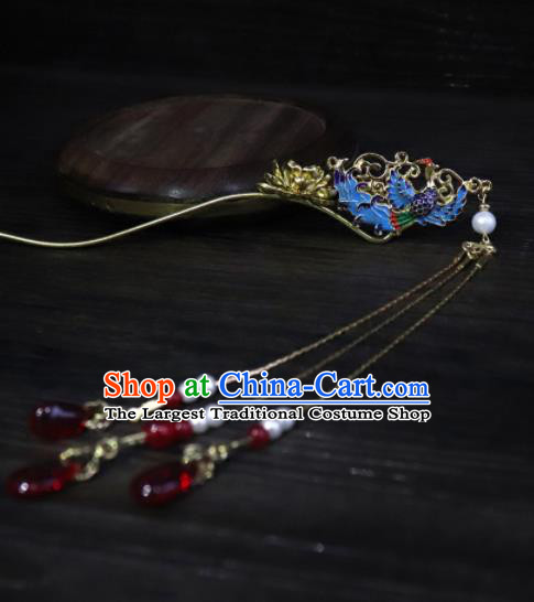 Chinese Ancient Palace Hair Accessories Traditional Classical Blueing Phoenix Tassel Hairpins for Women
