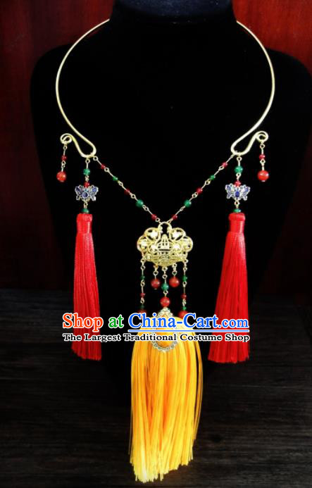 Chinese Ancient Palace Tassel Longevity Lock Jewelry Accessories Traditional Classical Hanfu Necklace for Women