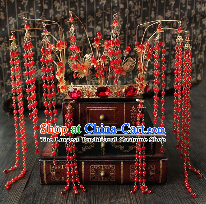 Chinese Ancient Palace Hair Accessories Traditional Wedding Classical Red Beads Tassel Phoenix Coronet Hairpins for Women