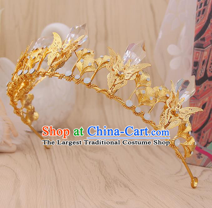 Top Grade Handmade Hair Accessories Classical Golden Butterfly Royal Crown for Women